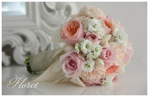 Pink and Apricot Bridal Bouquet