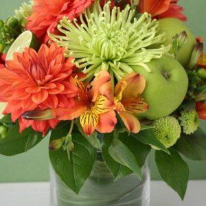 orange_dahlia_wedding_centerpiece