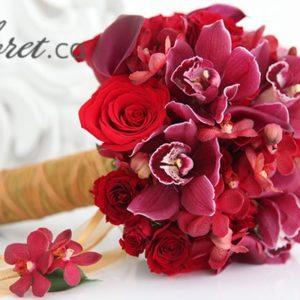 red_cymbid_bridal_bouquet