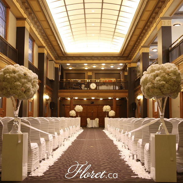 Wedding Ceremony And Reception In Same Location: Classic White Wedding Reception At One King West